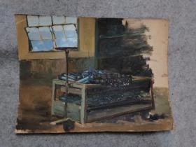 成都名家肖老文革时期在川美院的油画作品原稿手绘真迹保真出售