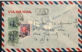民国代办所邮票实寄封1948河北唐山寄美国航空封