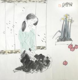 ●【顺丰包邮】【纯手绘】【方增先】上海美术馆馆长、中国美术学院荣誉教授、上海市美术家协会主席、中国国家画院中国画院院长、手绘四尺斗方人物画(68*68CM)3买家自鉴