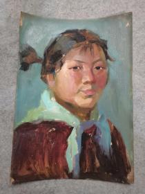 文革时期油画人物原稿手绘真迹 包老保真出售