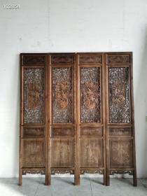 门板4片一套,雕刻细致~四季花鸟,梅兰竹菊,双面雕刻,高度208+宽45/每片。