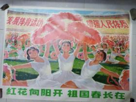 宣传画:红花向阳开,祖国春长在 (106 x 76.5)品相好