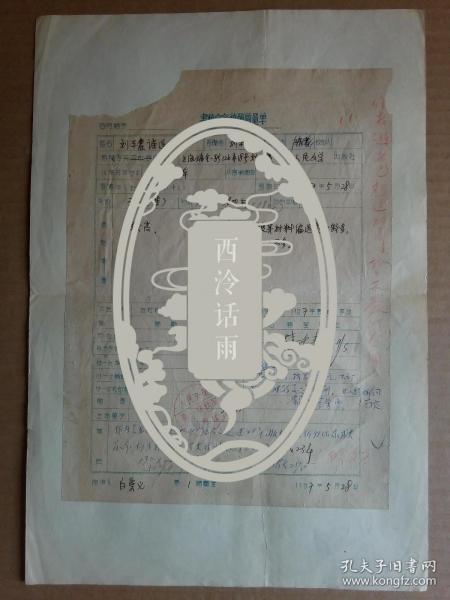 楼适夷全名 方殷 白崇义等签名人民文学出版社出版-刘半农诗集-稿酬单