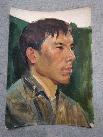成都名家肖老文革时期在川美院的油画人物作品 原稿手绘真迹保真出售