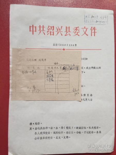 1980年绍兴县委关于成立中共绍兴县委政法委员会的通知(1张)