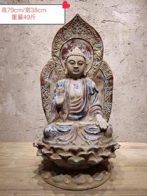 唐三彩莲花佛像(49斤)
