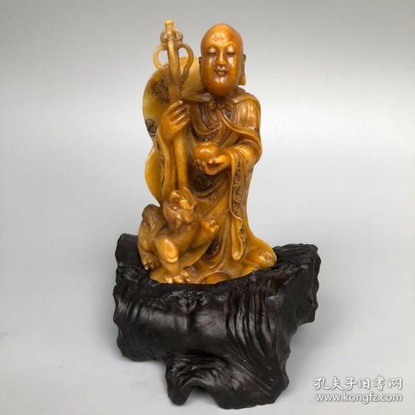 精品旧藏木盒装藏雕刻家朱之赤代表作寿山石田黄罗汉尊者造像摆件 净重459克