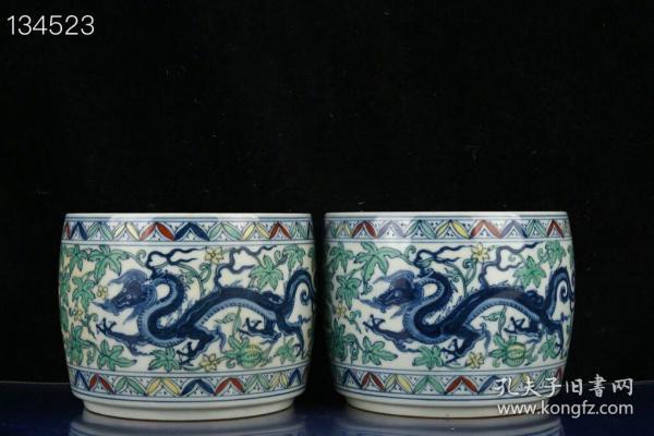 明成化斗彩南瓜草龙纹蛐蛐罐 古玩瓷器