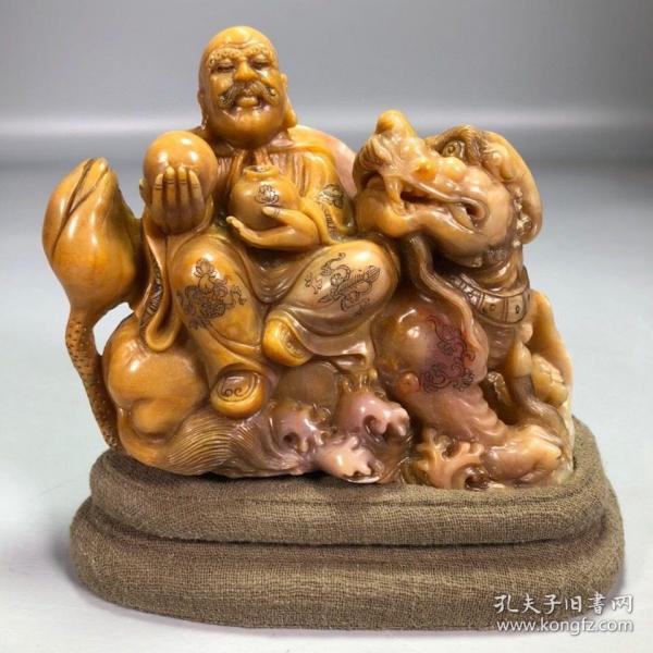 精品珍藏木盒装藏寿山石田黄石手工雕刻罗汉尊者造像摆件 净重937克