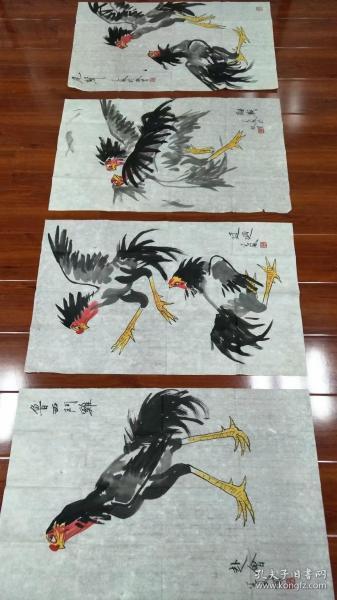 段谷风斗鸡图