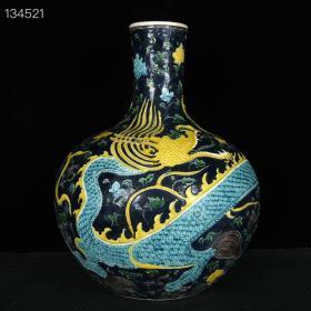 明永乐兰地珐华彩海水云龙纹天球瓶 古玩瓷器收藏