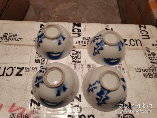 民国时期别样风格的山水图案瓷器瓷碗四个