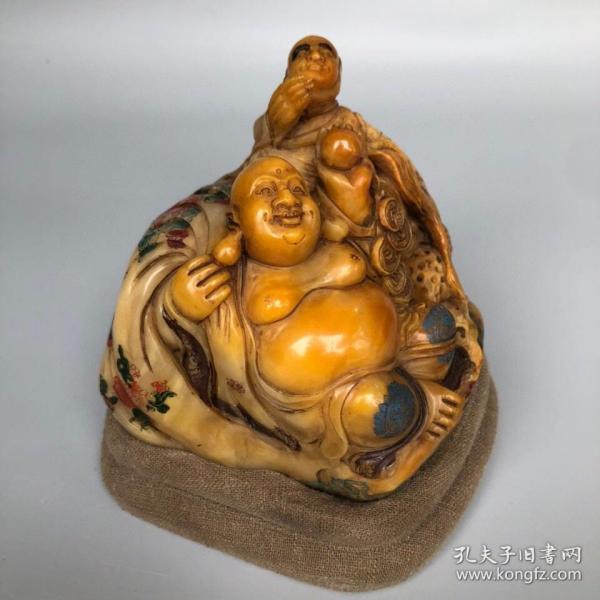 精品旧藏雕刻家曾熙代表作寿山石田黄手工雕刻彩绘双罗汉摆件 净重1247克