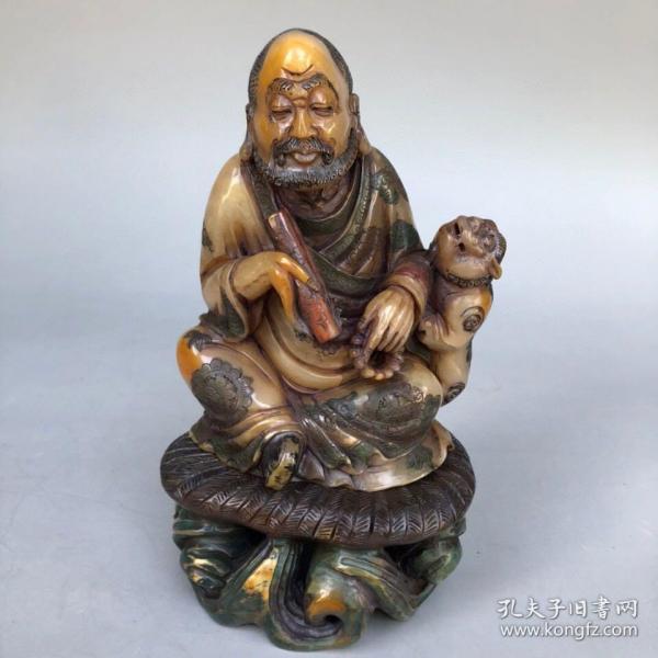 精品旧藏木盒装藏雕刻家黄易款寿山石田黄罗汉造像摆件 净重814克