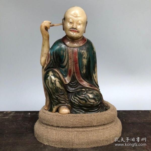 精品旧藏木盒装藏寿山石白田黄手工雕刻彩绘罗汉尊者造像摆件 净重288克