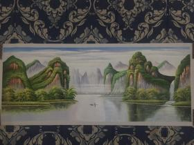 王功学手绘山水风景油画 1.90米 x0.80米