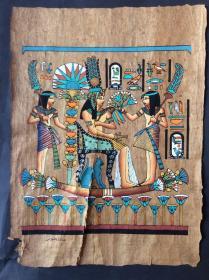 埃及沙草画(有裂)