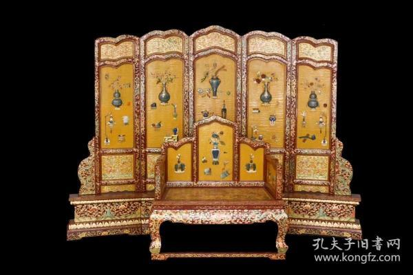 回流 清宫廷造办处特色 木胎大漆描金龙嵌百宝围屏