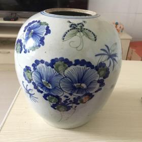 蝴蝶花卉纹青花罐 醴陵釉下彩瓷 淘米罐面粉罐