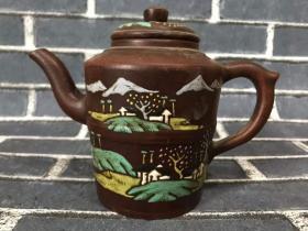 手工彩绘紫砂壶,出水流畅,买家自鉴