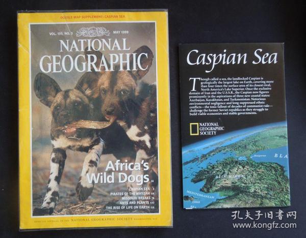 "《NATIONAL GEOGRAPHIC/(美國)國家地理》(1999年5月/封面故事:非洲野狗/含贈送活頁地圖/詳見""描述""及圖片)"
