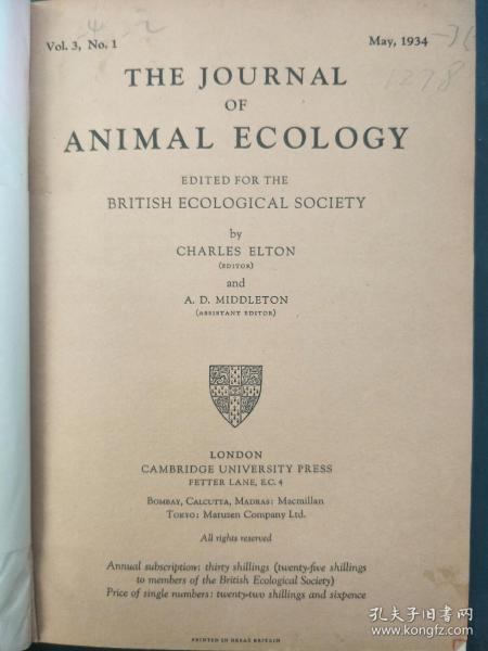 THE   JOURNAL  OF  ANIMAL  ECOLOGY(动物生态学杂志)