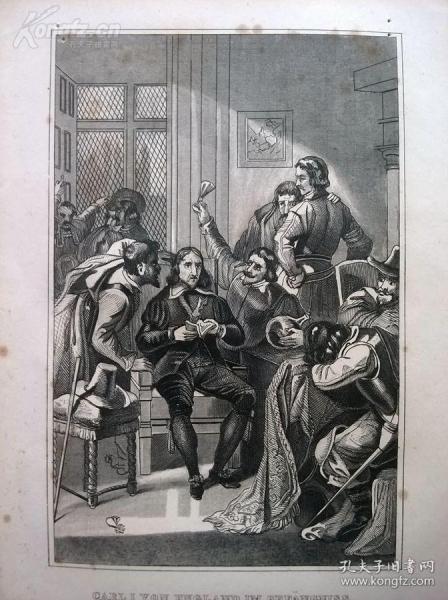 1842年钢版画《英格兰查理一世被新军投入监狱》(CARL I VON ENGLAND IM GEFÄNGNISS)—图解世界通史--21*14厘米---精美,漂亮,高质量