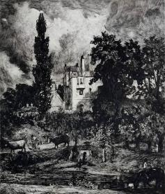 """""""大英博物馆藏画""""1878年法国蚀刻铜版画《浪漫小屋》—英国皇家美术学院院士""""约翰·康斯太勃尔(John Constable,1776—1837)""""作品  版画家:John Park雕刻 43x230cm  法国ARCHES版画专用水印纸"""