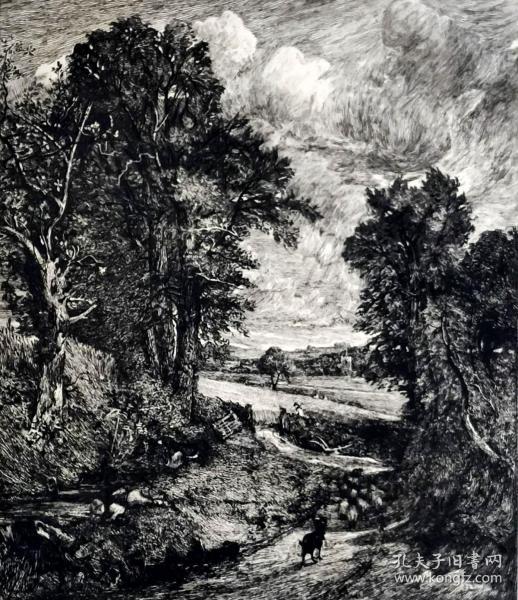 """""""大英博物馆藏画""""1878年法国蚀刻铜版画《戴德姆的玉米田》—英国皇家美术学院院士""""约翰·康斯太勃尔(John Constable,1776—1837)""""作品  版画家:John Park雕刻 43x230cm  法国ARCHES版画专用水印纸""""英国伦敦国家美术馆藏"""""""