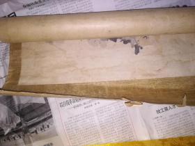 清代绫裱梧桐菊石图
