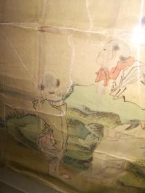 清代绢本人物镜片