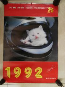 1992年天真、稚雅、活泼、可爱猫挂历一本