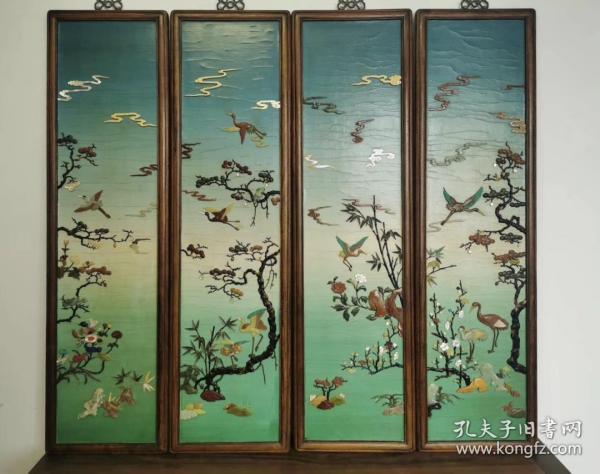 海外回流 旧藏清代宫廷造办处风格蓝天绿地巅百宝紫檀花鸟四条屏花鸟