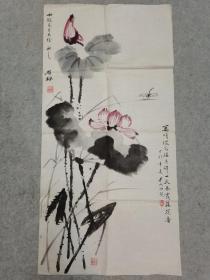 四川著名画家 雒枫 国画荷花 原稿手绘真迹
