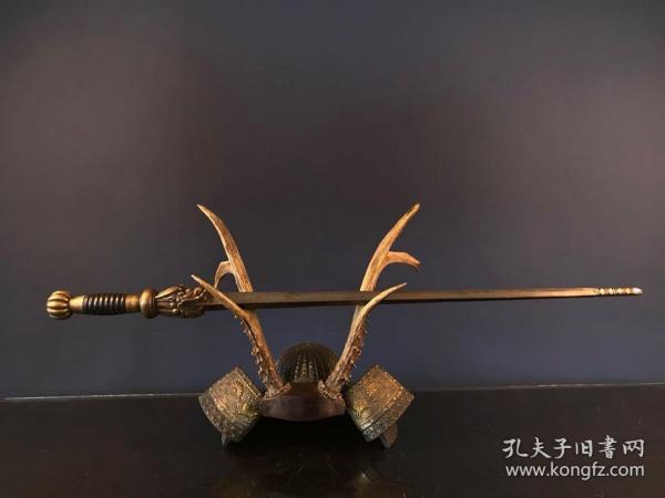 明代四棱锏 尺寸总长78cm 制作精细  龙头活档口十分罕见 包浆厚重自然