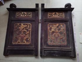雕花老木板两个合售