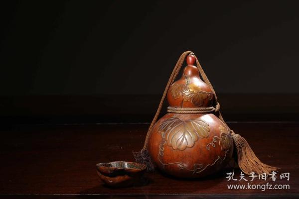 """海外回流 清代 堆漆彩绘""""福禄万代""""葫芦瓶"""
