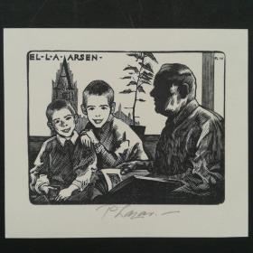 206-荷兰PETER LAZAROV木版藏书票 有签名 儿童阅读
