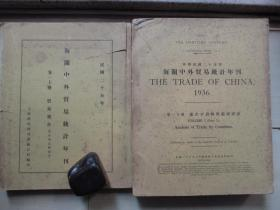 1936年上海税务司署统计科16开厚册:海关中外贸易统计年刊    上下2册全