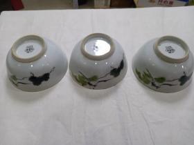 碗 3个合售(五六十年代手绘)
