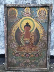 【藏传唐卡】旧藏镶木框丝绸绣释迦牟尼佛像唐卡