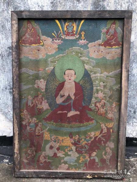 【藏传唐卡】旧藏镶木框丝绸绣佛像唐卡