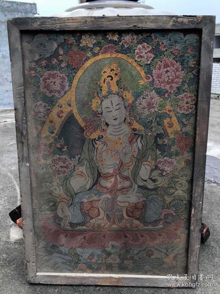 【藏传唐卡】旧藏镶木框丝绸绣白度母佛像唐卡3