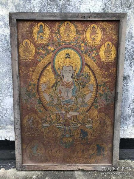 【藏传唐卡】旧藏镶木框丝绸绣四臂观音佛像唐卡3