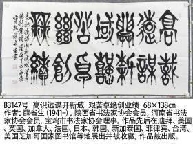 B3147号书法 高识远谋开新域 艰苦卓绝创业绩 68×138cm 作者:薛省生(1941-),陕西省书法家协会会员,河南省书法家协会会员,宝鸡市书法家协会理事。作品先后在迪拜、美国、英国、加拿大、法国、日本、韩国、新加泰国、菲律宾、台湾、美国芝加哥国家图书馆等地展出并被收藏,作品被出版。