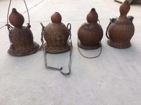 清代纯手工柳米编纯手工葫芦酒壶全品包老。包浆浑厚