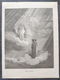 十九世纪 古斯塔夫·多雷 木口木刻 木版画241- 《DANTES ANCESTOR》190905