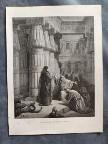 十九世纪 古斯塔夫·多雷 木口木刻 木版画211- 《THE EGYPTIANS URGE MOSES TO DEPART》190905