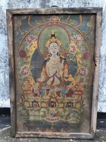 【藏传唐卡】旧藏镶木框丝绸绣白度母佛像唐卡