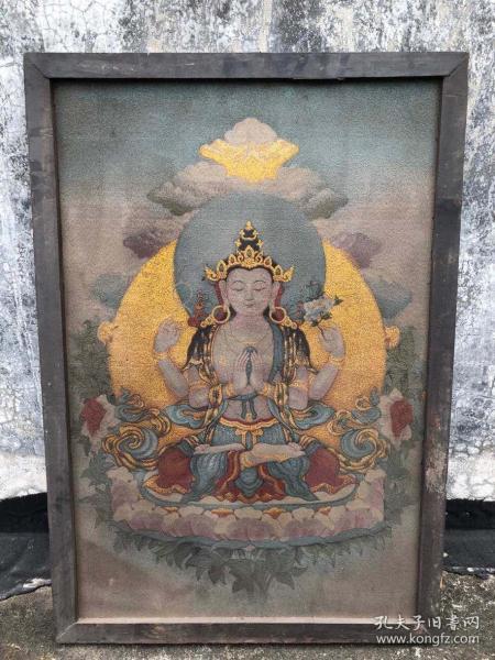 【藏传唐卡】旧藏镶木框丝绸绣四臂观音佛像唐卡2